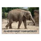 Asian Elephant Walking On Sand Birthday Card