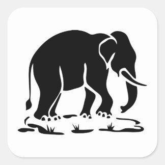 Asian Elephants Ahead Thai Elephant Trekking Sign Square Sticker