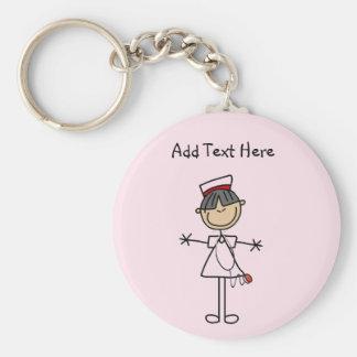 Asian Female Stick Figure Nurse T-shirts and Gifts Key Ring