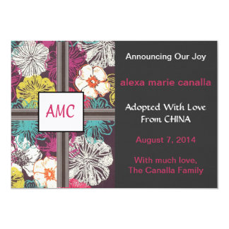 Asian Floral Monogrammed Adoption Announcement