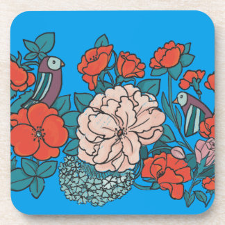 Asian flower sea beverage coasters