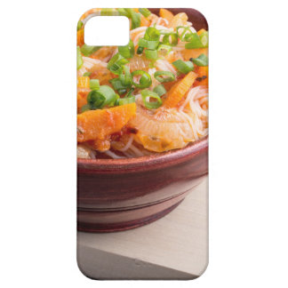 Asian food of rice noodles in a small wooden bowl iPhone 5 cover