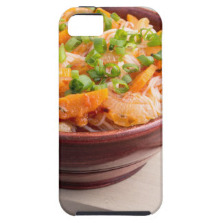 Asian food of rice noodles in a small wooden bowl iPhone 5 covers