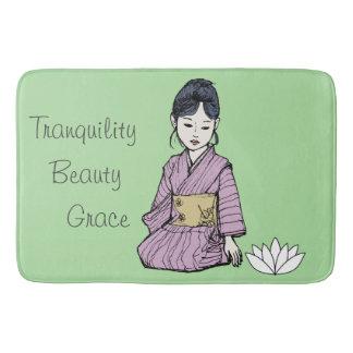 Asian Girl in Pink-Mauve Kimono Bath Mat
