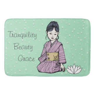 Asian Girl in Pink-Mauve Kimono White Lotus Water Bath Mat