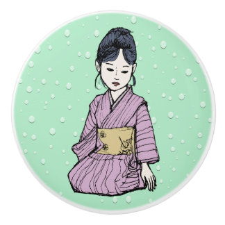 Asian Girl in Pink-Mauve Kimono White Lotus Water Ceramic Knob