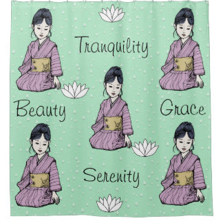 Asian Girl in Pink Mauve Kimono White Lotus Water Shower Curtain