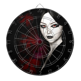 Asian gothic dartboard with darts