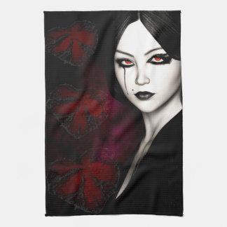 Asian gothic tea towel