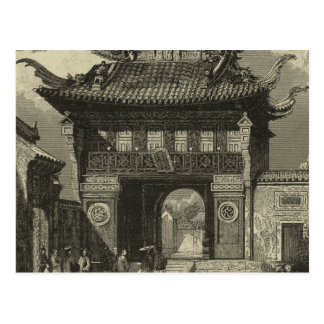 Asian Imperial Temple in Black & White Postcard