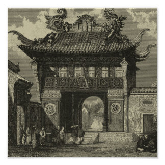 Asian Imperial Temple in Black & White Poster