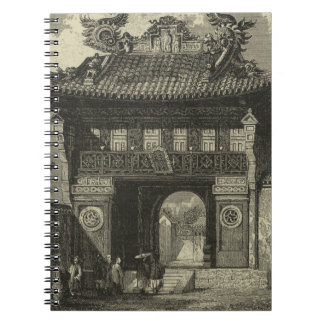 Asian Imperial Temple in Black & White Spiral Notebooks