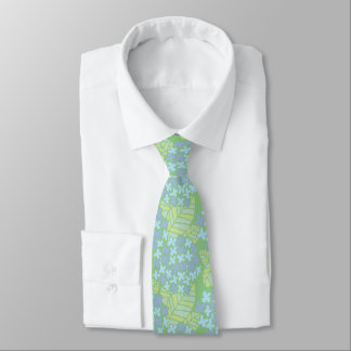 Asian-Inspired Blue & Green Floral Neck Tie