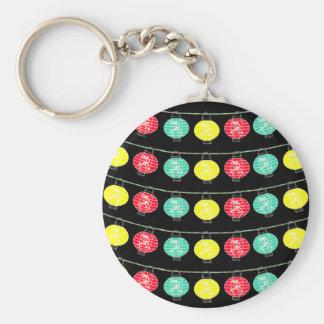 Asian Lanterns Basic Round Button Key Ring