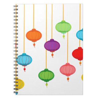 asian lanterns spiral notebooks