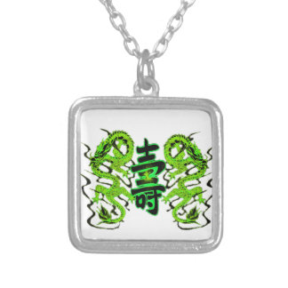 Asian Long Life Green Dragon PNG Silver Plated Necklace