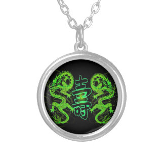 Asian Long Life Green Dragon Silver Plated Necklace