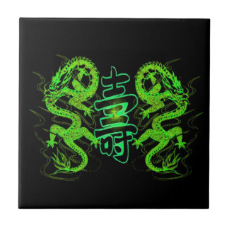 Asian Long Life Green Dragon Tile