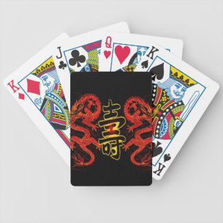 Asian Long Life Red Dragon Bicycle Playing Cards