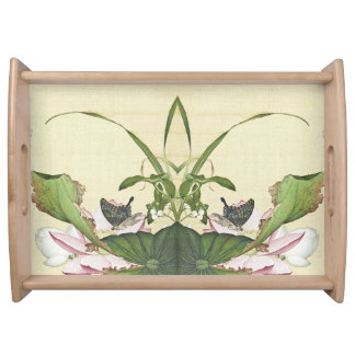 Asian Lotus Flower Butterfly Pond Serving Tray