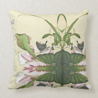 Asian Lotus Flowers Butterfly Collage Throw Pillow