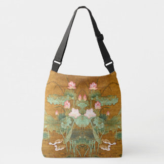 Asian Lotus Flowers Waterfowl Birds Pond Tote Bag