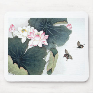 Asian Lotus Leaf Pink Flower Butterfly Art Cool Mouse Pad
