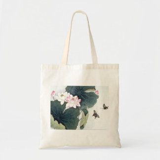 Asian Lotus Leaf Pink Flower Butterfly Art Cool Tote Bag