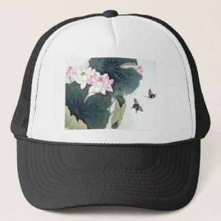 Asian Lotus Leaf Pink Flower Butterfly Art Cool Trucker Hat