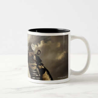 Asian man wearing samurai armor and holding Two-Tone coffee mug