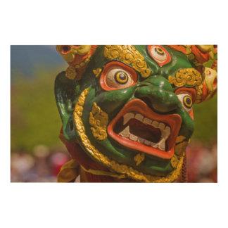 Asian Masked Dancer Wood Print