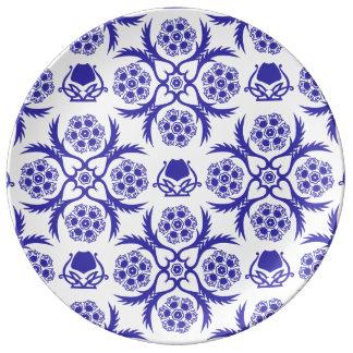 Asian/Middle Eastern pattern (Blue) Porcelain Plate