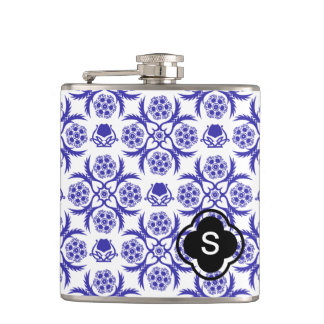 Asian/Middle Eastern pattern (Blue) Hip Flask