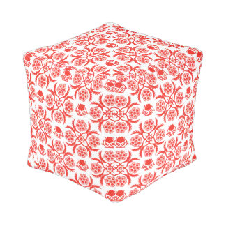 Asian/Middle Eastern pattern (Red) Cube Pouffe