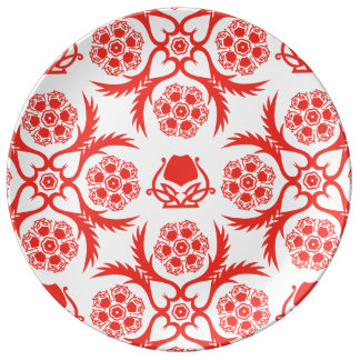 Asian/Middle Eastern pattern (Red) Porcelain Plate