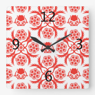 Asian/Middle Eastern pattern (Red) Wall Clocks