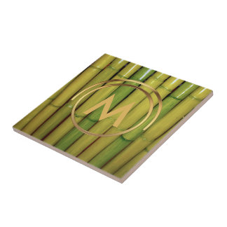 Asian Monogram   Zen Green Bamboo Botanical Photo Tile