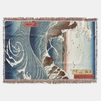 Asian Ocean Waves Sea Japanese Throw Blanket
