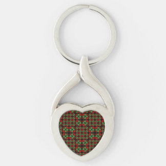 Asian Ornate Patchwork Pattern Silver-Colored Twisted Heart Key Ring