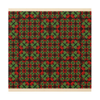 Asian Ornate Patchwork Pattern Wood Print