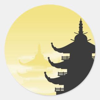 Asian Pagoda Silhouette at Dawn Classic Round Sticker