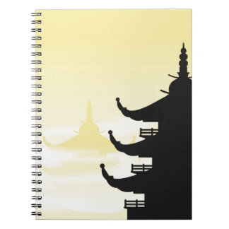 Asian Pagoda Silhouette at Dawn Notebooks