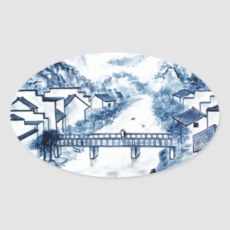 Asian pattern on porcelain, oval sticker