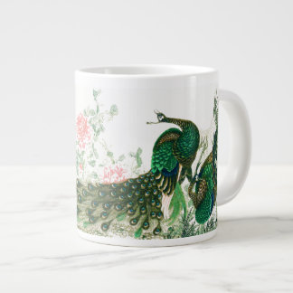 Asian Peacock Birds Peony Flowers Jumbo Mug