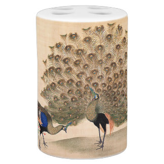 Asian Peacock Peahen Birds Animals Bath Set