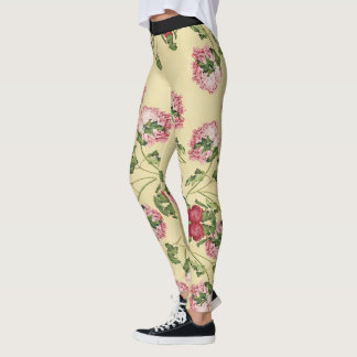 Asian Peony Flowers Floral All Over Print Leggings