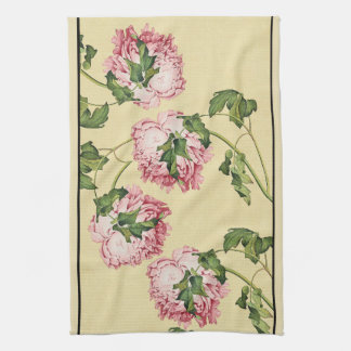 Asian Peony Flowers Floral Kitchen Towel