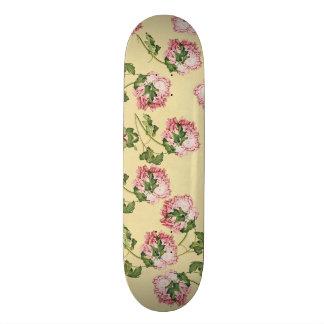 Asian Peony Flowers Floral Skateboard