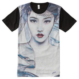 Asian Princess Beauty Watercolor Gouache Art All-Over Print T-Shirt
