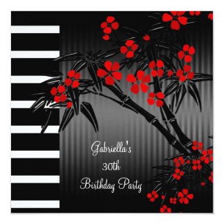 Asian Red Floral Black White Bamboo 30th Birthday 13 Cm X 13 Cm Square Invitation Card